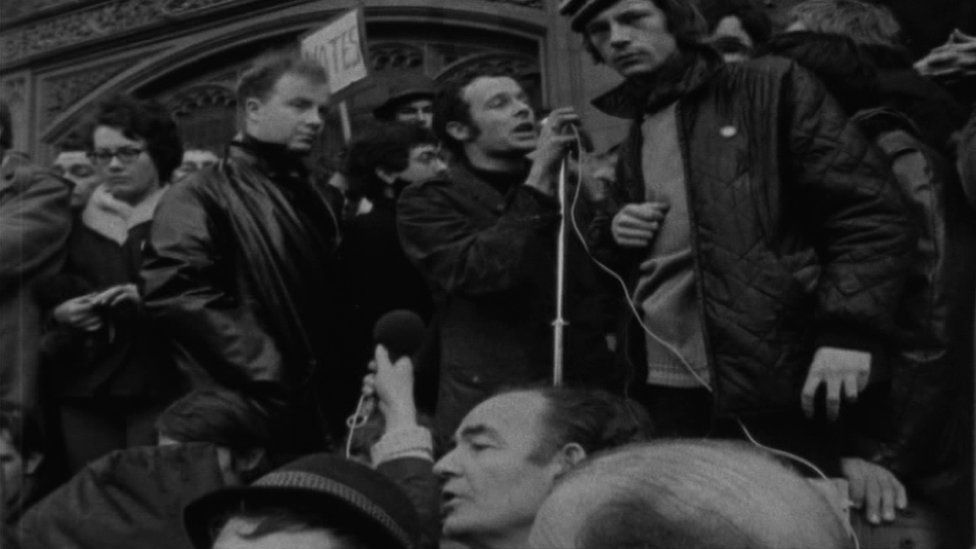 Eamonn McCann addressing a civil rights march in Londonderry in 1969