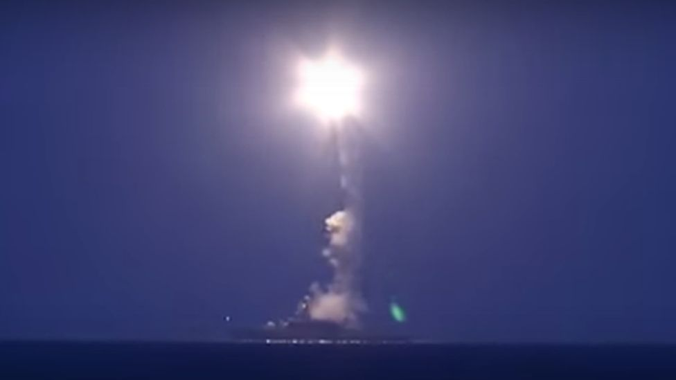 A warship launches a missile in the Caspian Sea