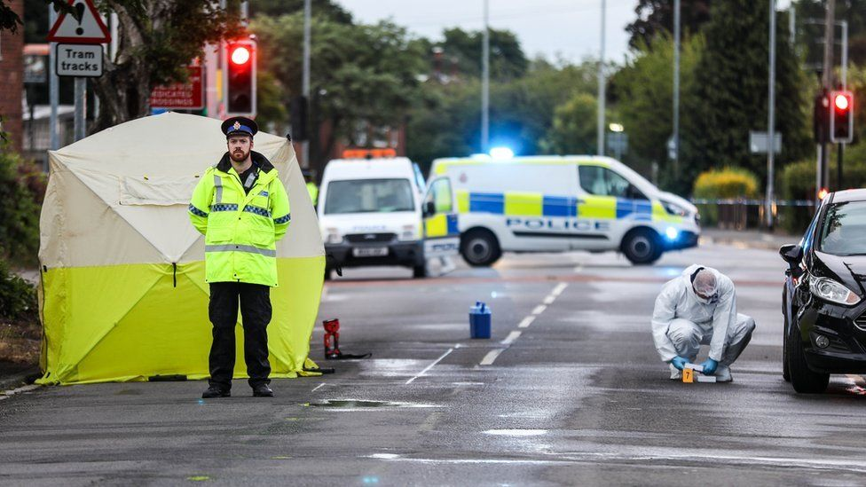 Police at scene on Wythenshawe Road