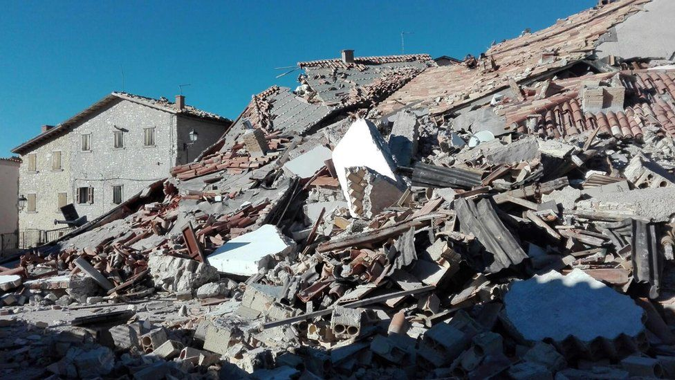 Destroyed building and rubble in Castelluccio di Norcia, Italy, 31 October 2016