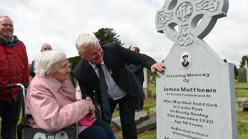 The late Nancy Dillion, born three months after her father was killed on Bloody Sunday, witnessed the unveiling of his new headstone in 2016