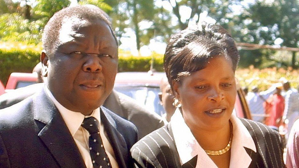 """Morgan Tsvangirai and his wife Susan arrive at the city Sports Center in Harare for party""""s congress 18 March 2006."""