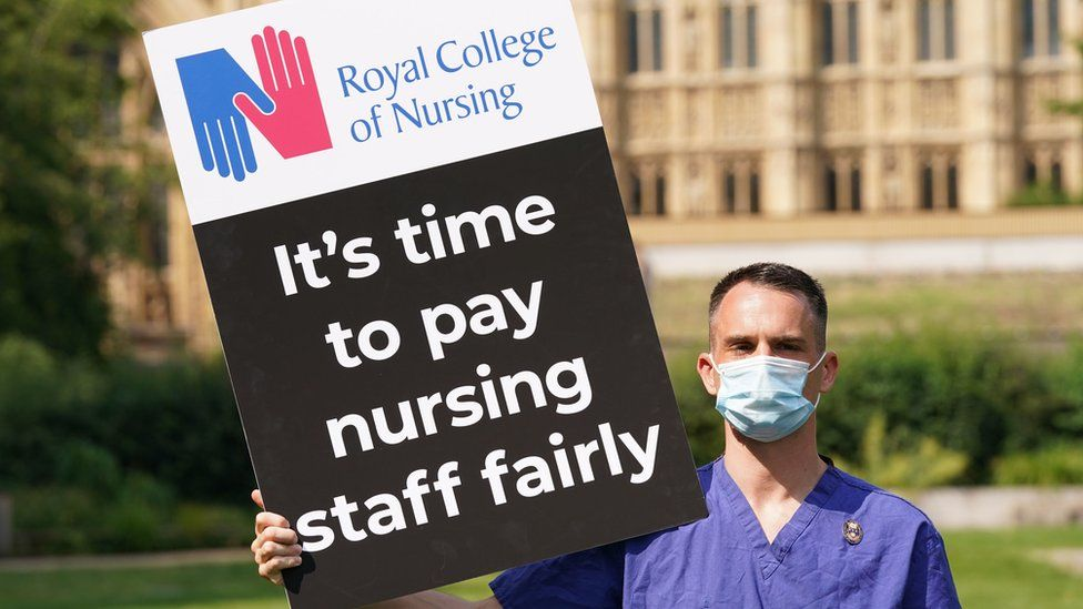 Royal College of Nursing protest outside Parliament
