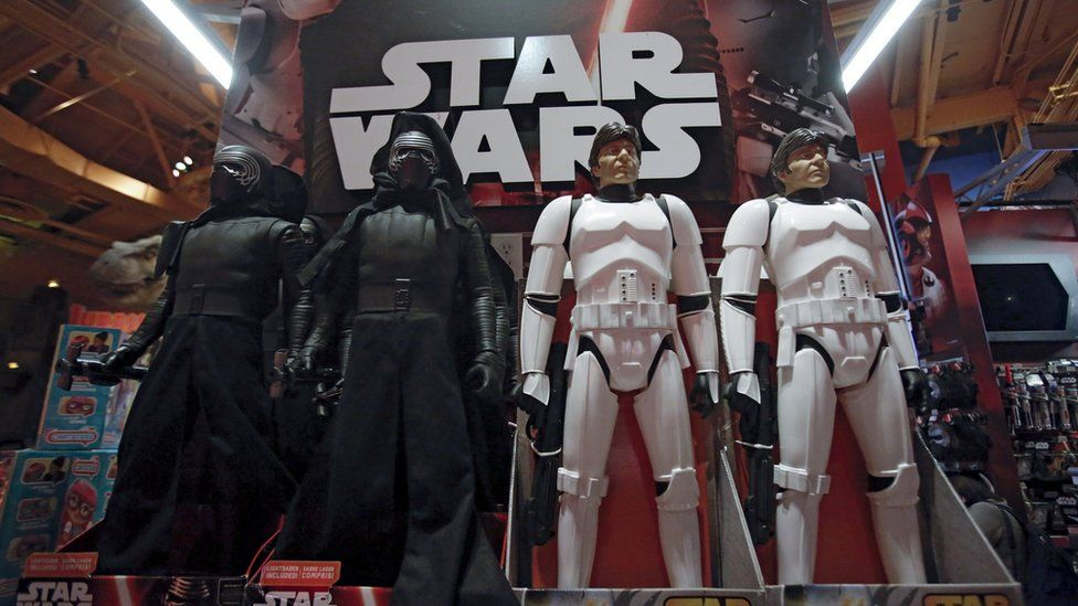 """Star Wars toys are seen at Toys """"R"""" Us Times Square store during the early opening of the Black Friday sales in the Manhattan"""