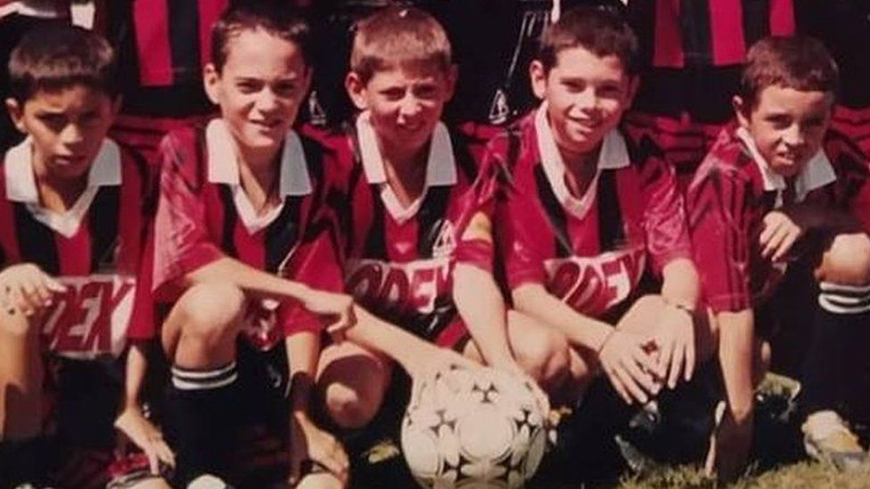 Emiliano Sala pictured with his team-mates as a young footballer