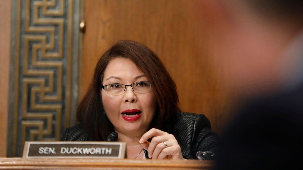 Senator Tammy Duckworth questioning a nominee, in over the shoulder shot from January 2017