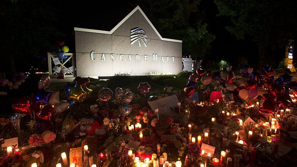 Vigils were held outside the mall in the days after the shooting (file)