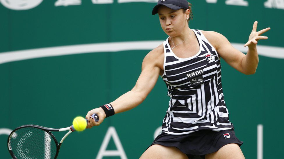 Ashleigh Barty strikes a forehand in the Birmingham Classic final on her way to victory on Sunday