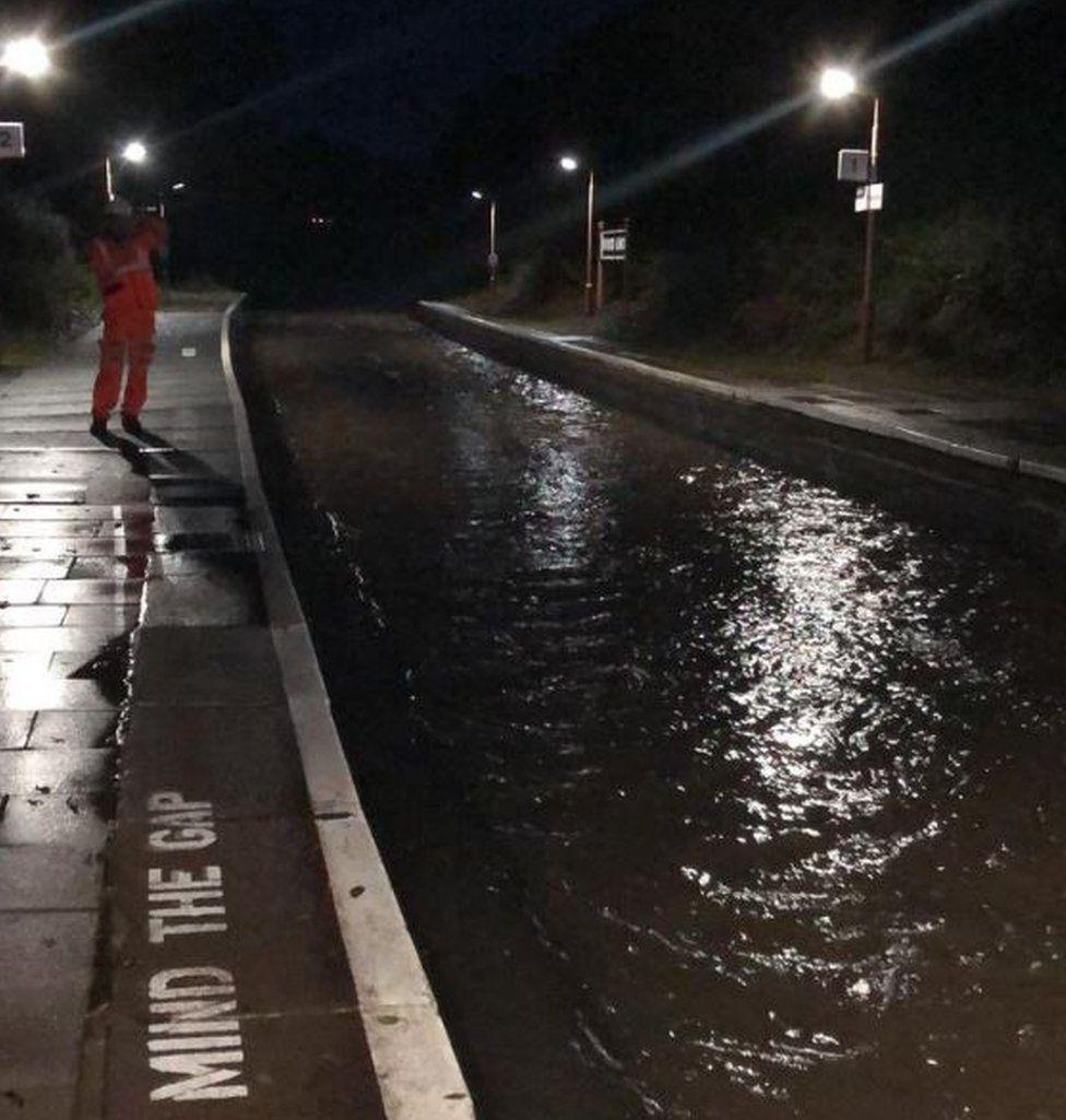 Flooded train tracks