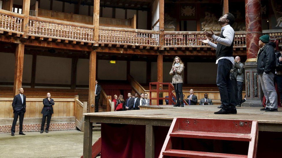US President Barack Obama at the Shakespeare Globe theatre
