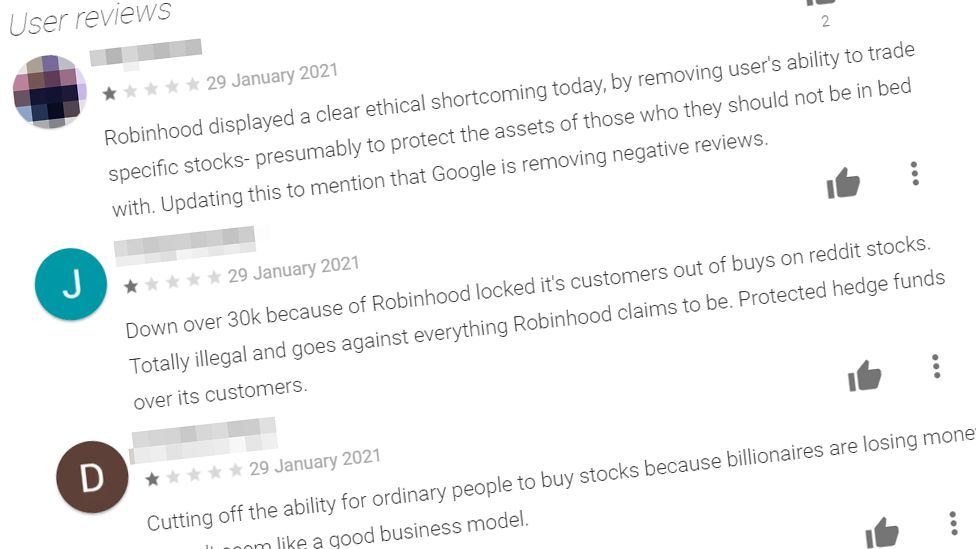 A selection of three one-star reviews pulled from the Google Play Store