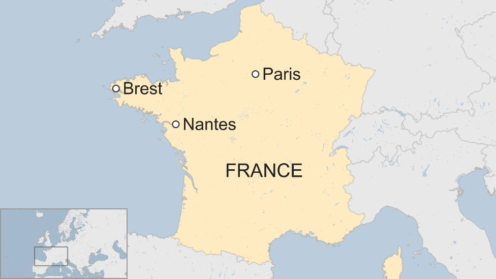 Map of Nantes and Brest in France