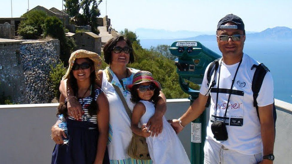 Jiya and her family in Gibraltar