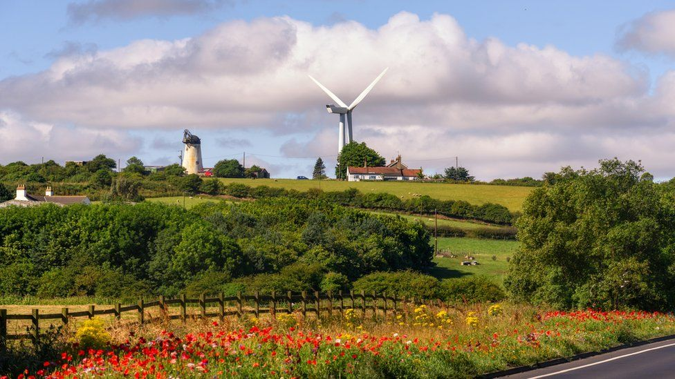 An old windmill and wind turbine on the outskirts of Hartlepool