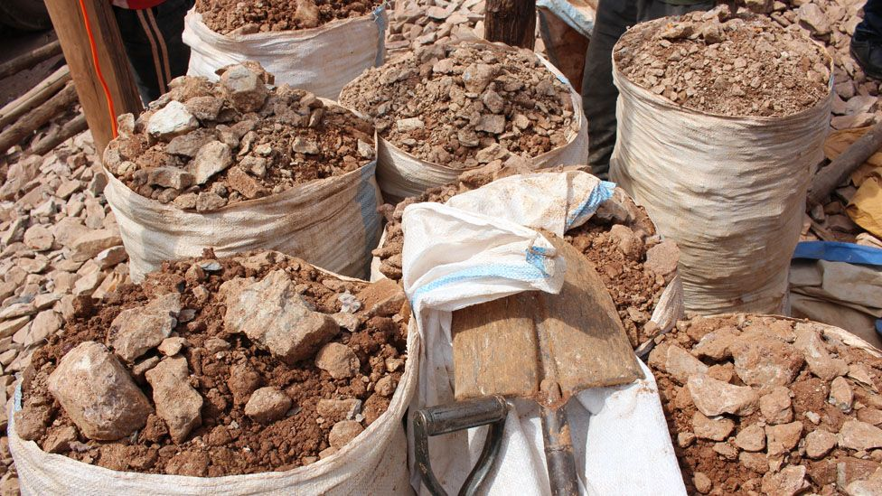Bags of rubble waiting to be checked for signs of gold