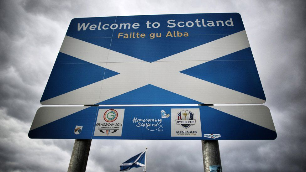 A Scottish Saltire flag flies on the border with England on September 14, 2014 in Carter Bar, Scotland