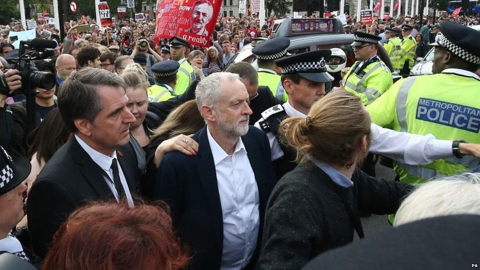 Jeremy Corbyn at rally in Parliament Square