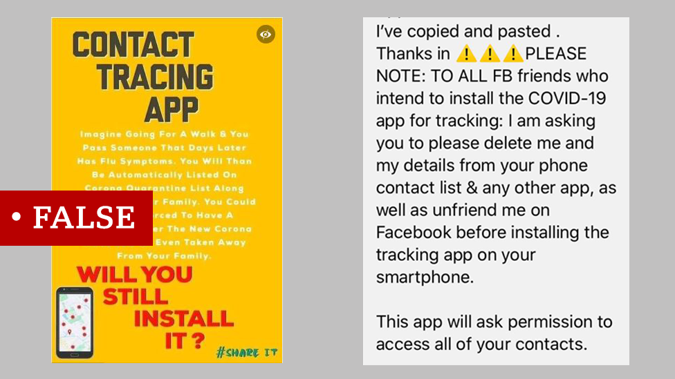 A false contact tracing meme and another screenshot of a false post about a future track and trace app