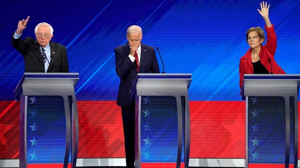 Biden, Sanders and Warren on the debate stage