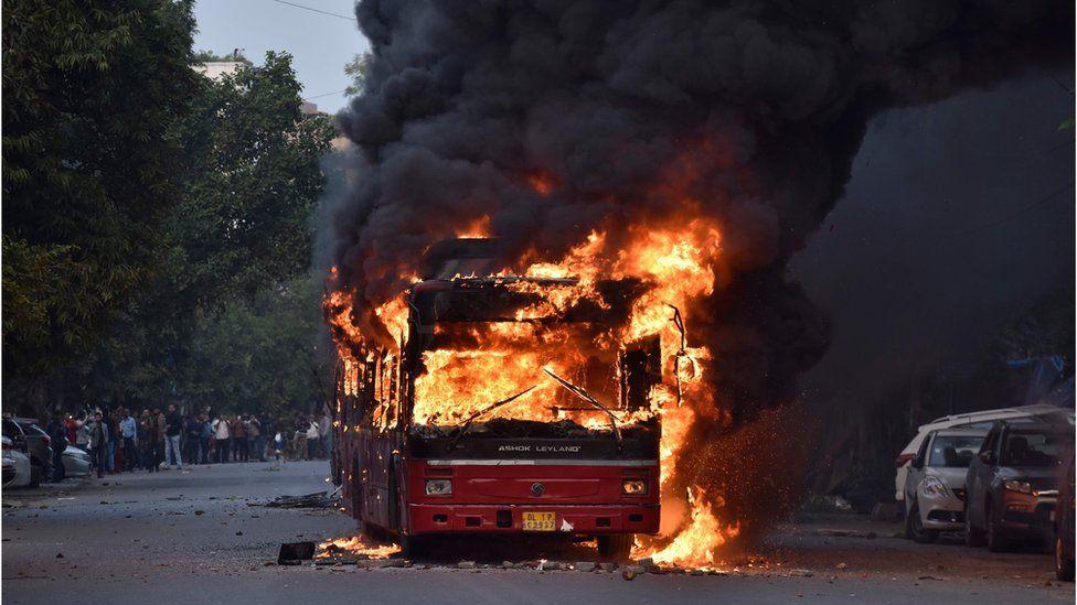 A bus burns in Delhi, 15 December