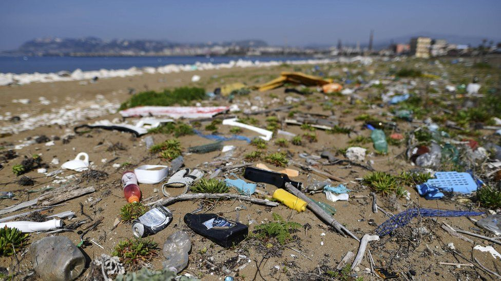 The plastic waste abandoned on the beach of the sea of Naples.