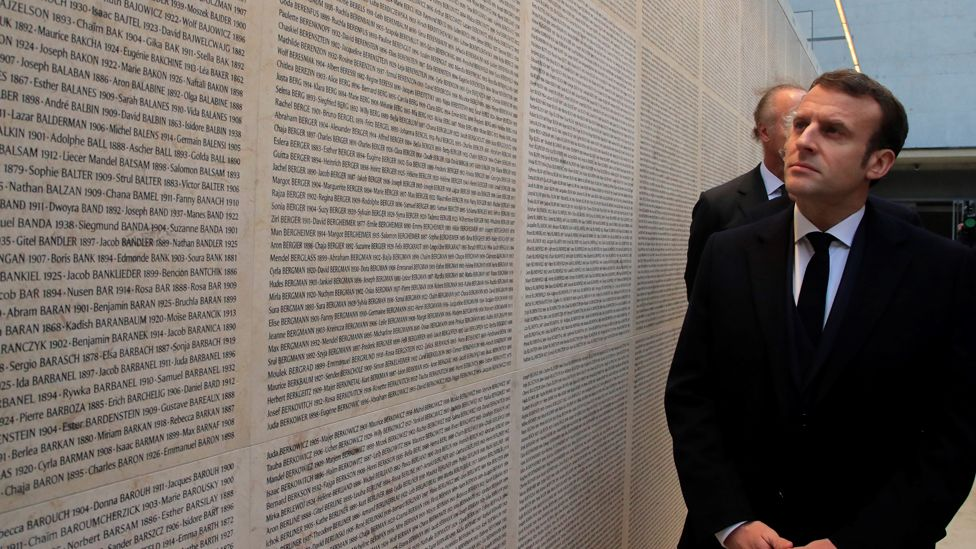 Macron and remembrance wall