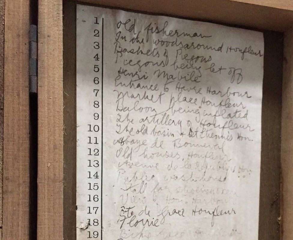 A list of the photographs in the box