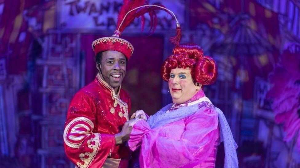 Christopher Biggins as Widow Twankey in Aladdin at the Churchill Theatre in Bromley