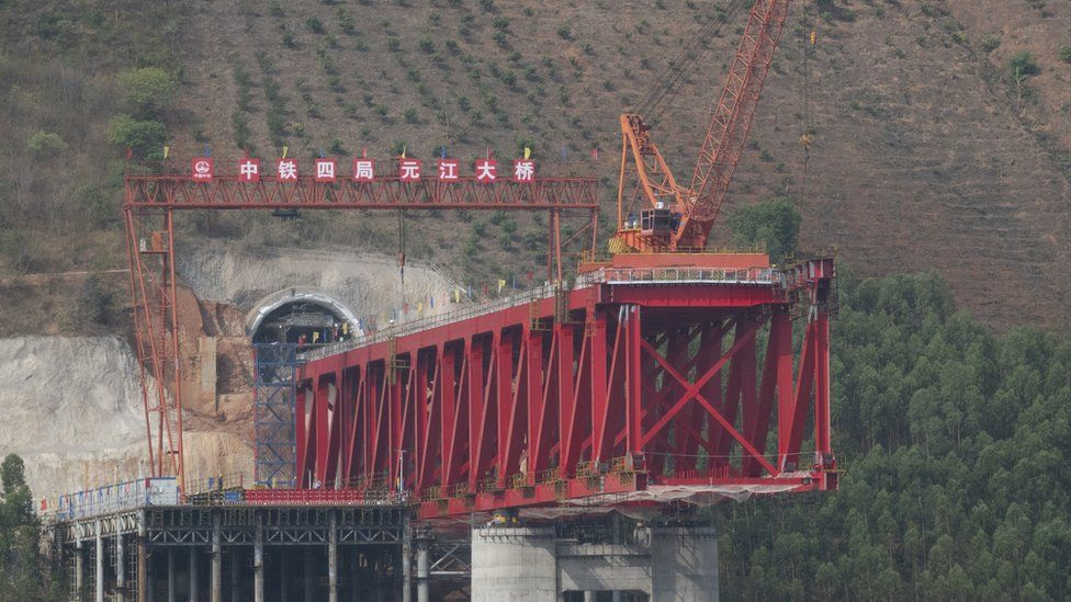 The Yumo railway from China to Laos under construction in Yuxi, Yunnan, China on 26 May, 2019