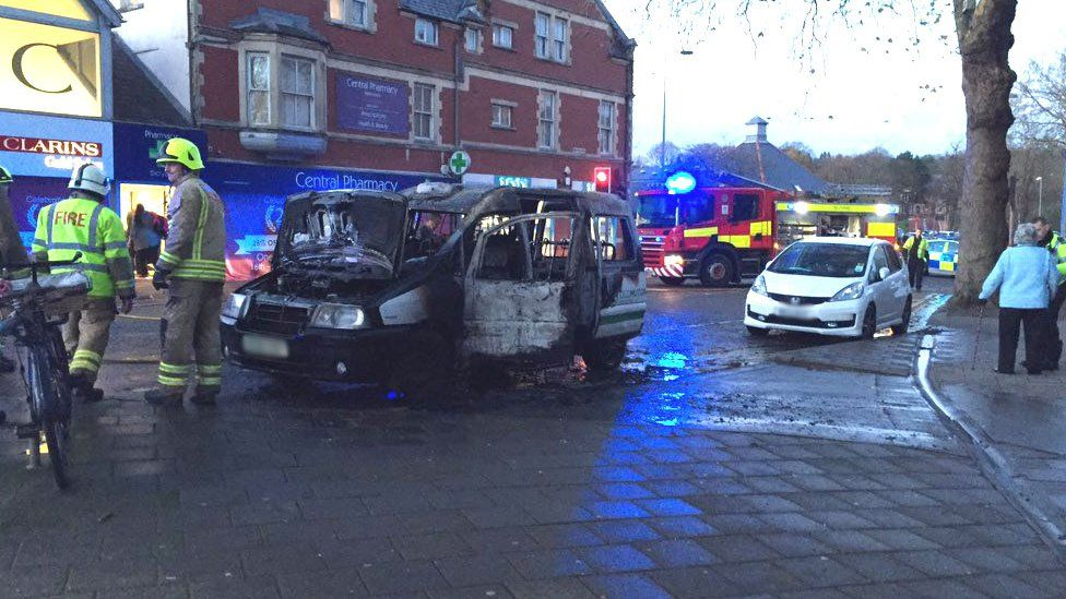 Burnt-out taxi