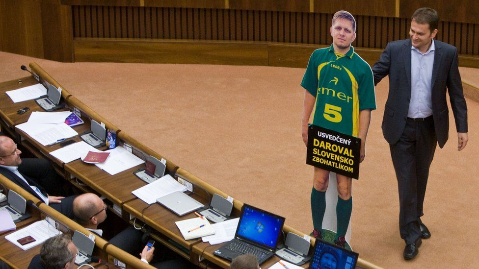Mr Matovic produced a cardboard cut-out of Prime Minister Robert Fico in parliament in September 2013 which led to a brawl