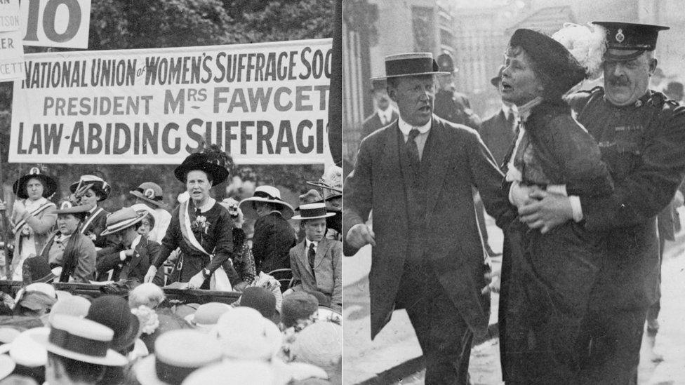 Millicent Fawcett and Emmeline Pankhurst.