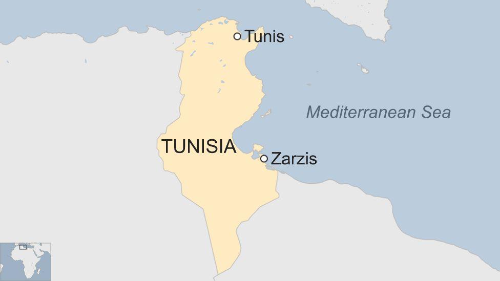 Map of Tunisia highlighting Zarzis and Tunis
