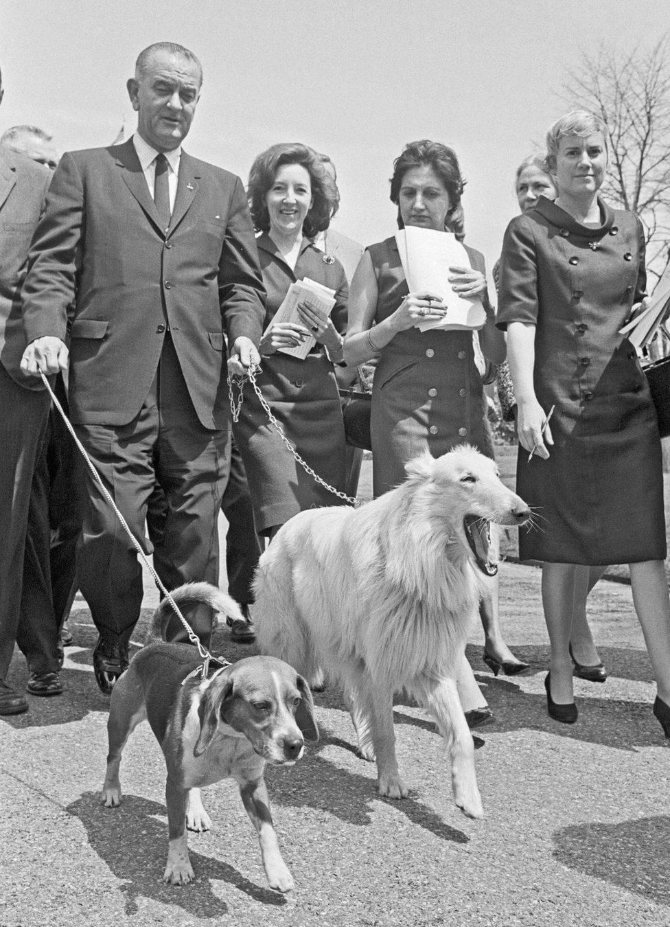 President Johnson walks his dogs whilst surrounded by journalists