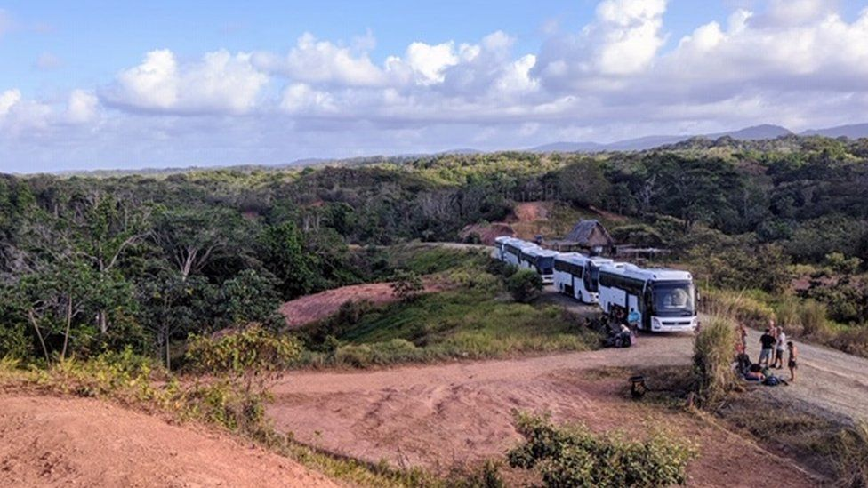 Buses that were meant to take the festival's attendees to Panama City