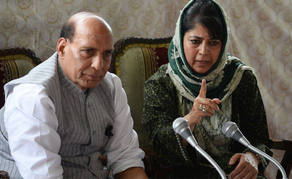 Chief Minister of Jammu and Kashmir Mehbooba Mufti and India's Home Minister speaking at a press conference