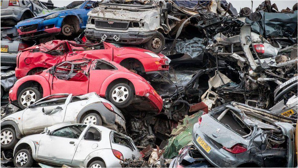 Cars in a scrap yard