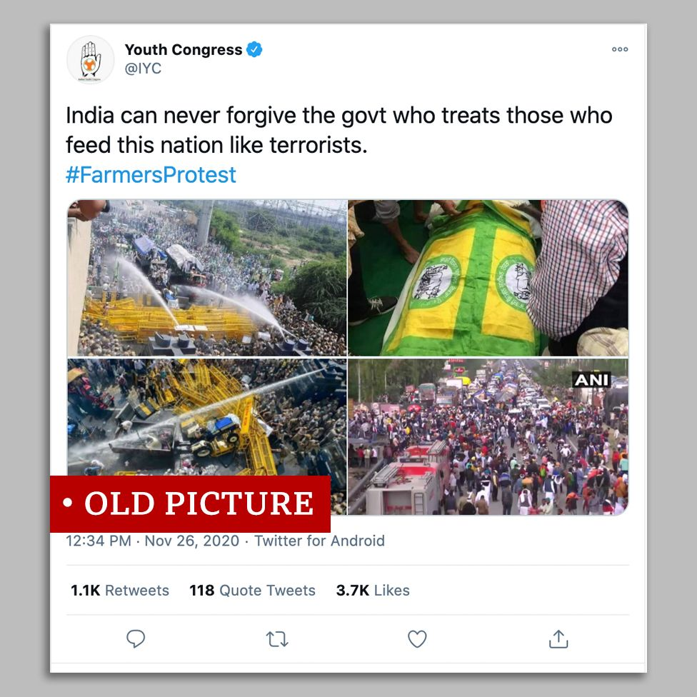 Congress leaders post old images to show current farmer protests