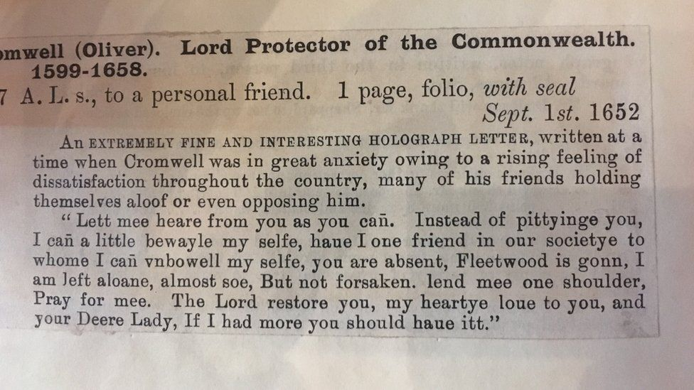 Letter from Oliver Cromwell