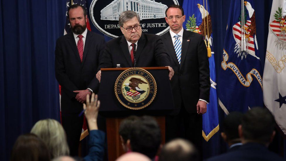 Attorney General William Barr takes questions about the release of the redacted version of the Mueller Report at the Department of Justice April 18, 2019 in Washington, DC