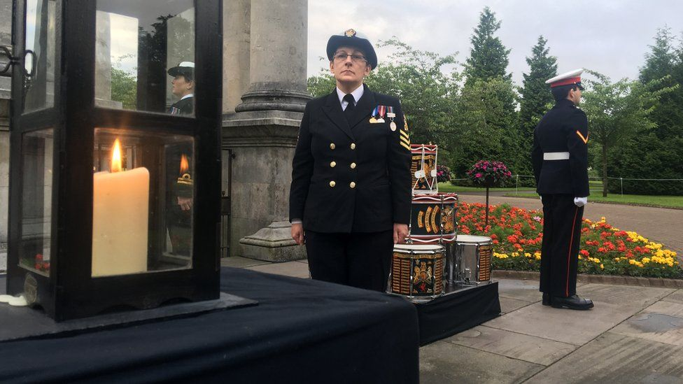 Candle at the Welsh National War Memorial in Cardiff