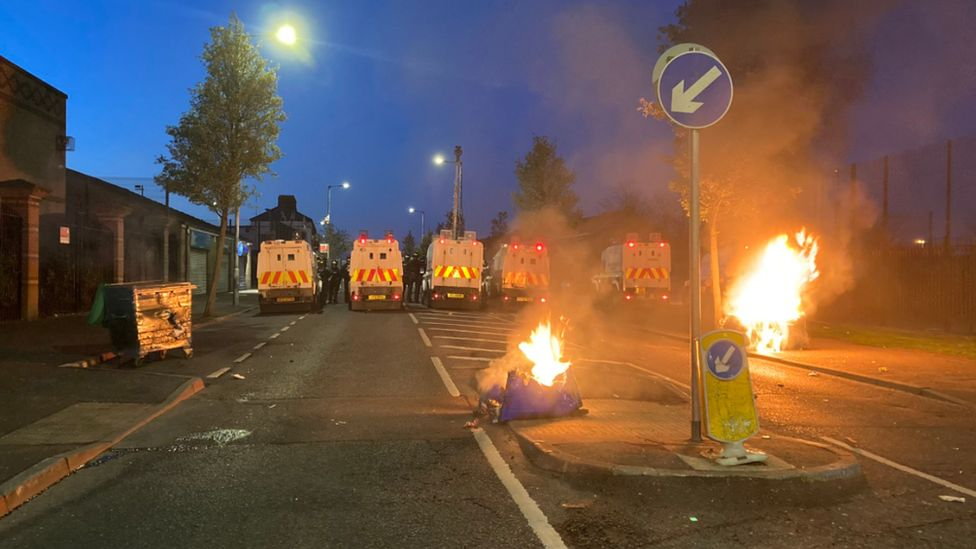 The scene in North Queen Street on Friday night