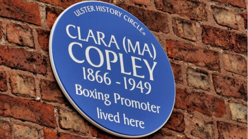 This plaque honouring Ma Copley was unveiled in 2012 at her old home in Donegall Pass