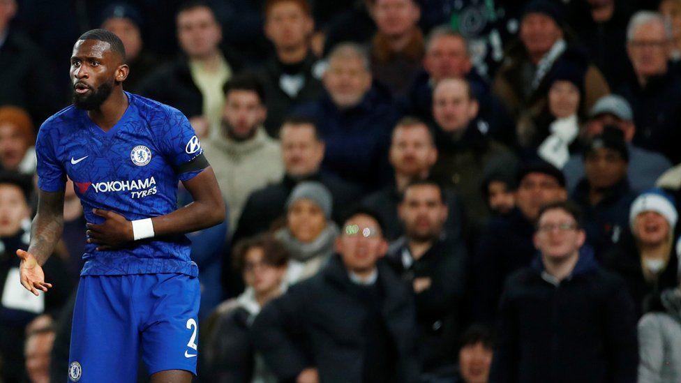 Chelsea player Antonio Rudiger during the club's match at Tottenham Hotspur