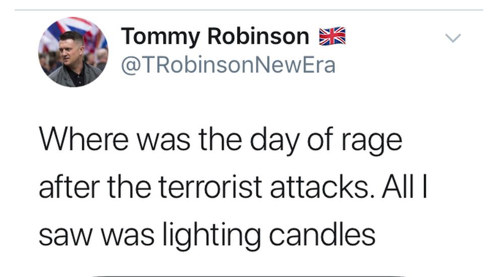A Tommy Robinson tweet