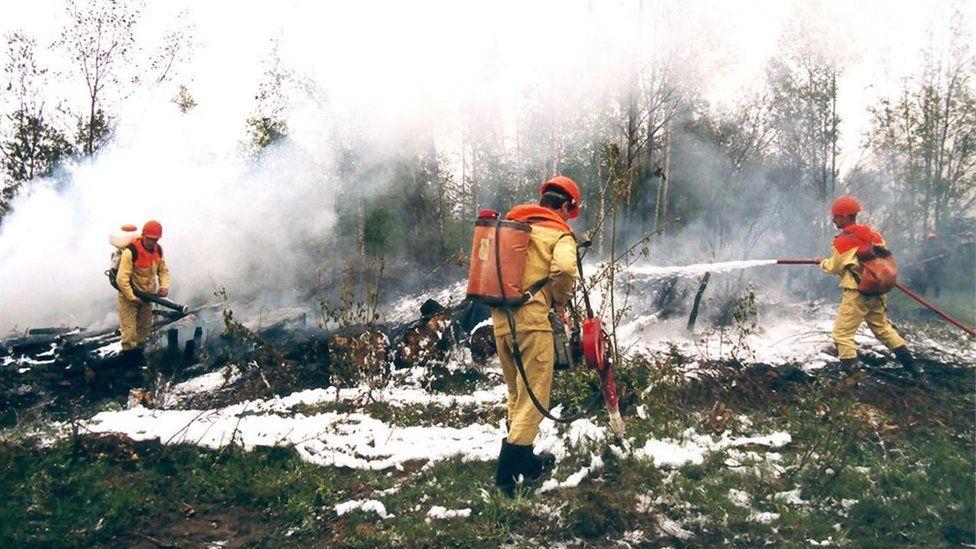 Emergencies ministry officials tackle wildfires in Krasnoyarsk region, Russia. Photo: 1 August 2019