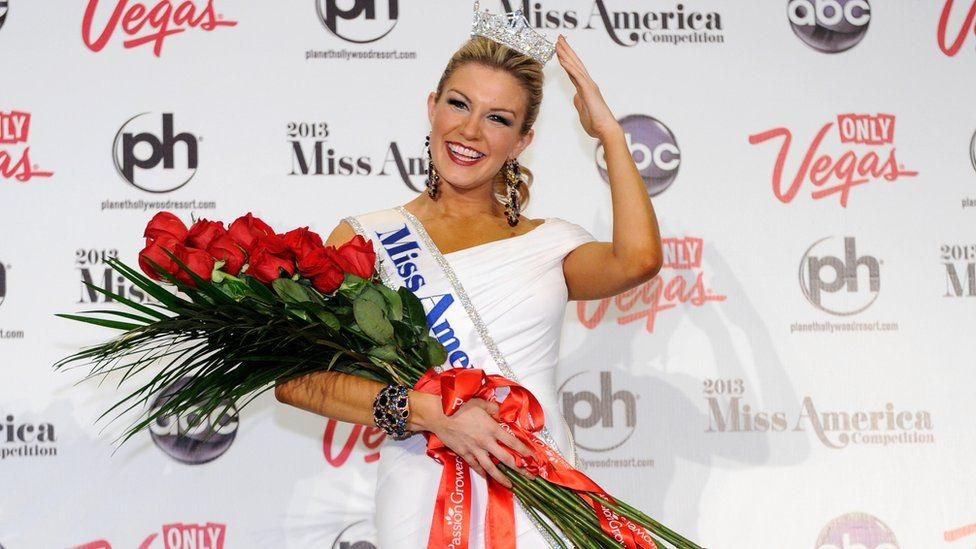 Miss America, Mallory Hytes Hagan, of New York, poses during a news conference after she was crowned during the 2013 Miss America Pageant at Planet Hollywood Resort & Casino on January 12, 2013 in Las Vegas, Nevada