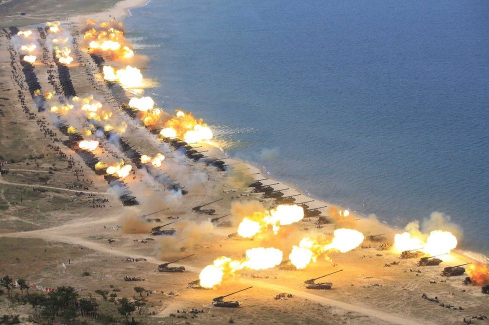 """An undated photograph released by the Korean Central News Agency (KCNA) on 26 April 2017 shows the combined fire demonstration of the services of the Korean People""""s Army in celebration of its 85th founding anniversary, at an undisclosed location in North Korea"""
