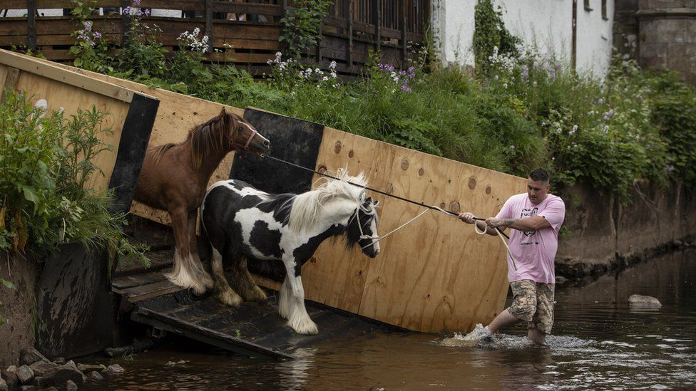 Horses are pulled into the River Eden to be washed during the annual Appleby Horse Fair