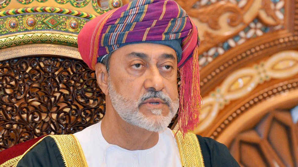 Oman's new Sultan, Haitham bin Tariq, speaks during his swearing in ceremony on 11 January 2020
